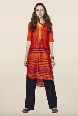 Global Desi Orange Printed Kurti