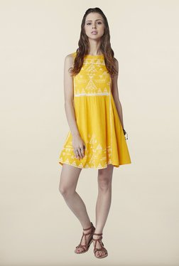 Global Desi Yellow Tribal Printed Dress
