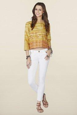 Global Desi Orange Printed Regular Fit Top
