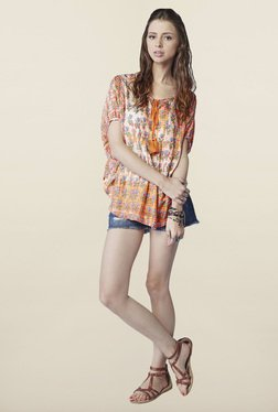Global Desi Orange Floral Printed Top