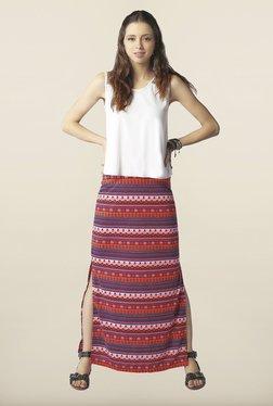 Global Desi Multicolor Printed Side Slit Skirt