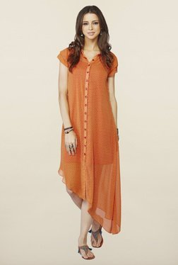 Global Desi Orange Printed Tunic - Mp000000000147158