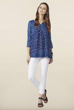 Global Desi Blue Printed Cotton Top