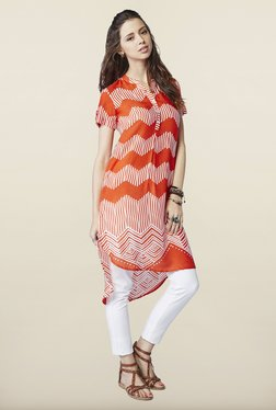 Global Desi Orange Printed Tunic