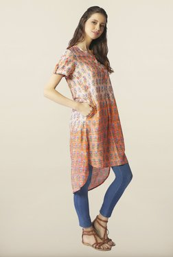 Global Desi Orange High Low Printed Tunic - Mp000000000146547