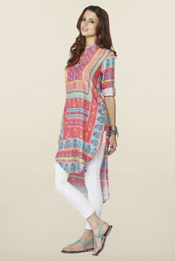 Global Desi Multicolor Printed High Low Kurti