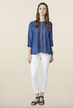 Global Desi Indigo Solid Cotton Top