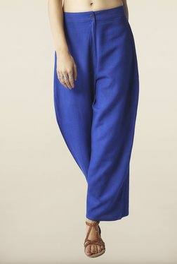 Global Desi Indigo Solid Straight Pants