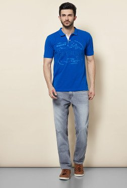 Easies Blue Printed Casual Polo T-Shirt