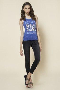Zudio Indigo Floral Printed T Shirt