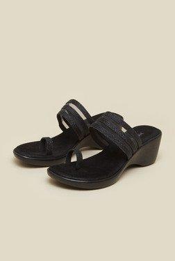 Mochi Black Platform Heel Wedges