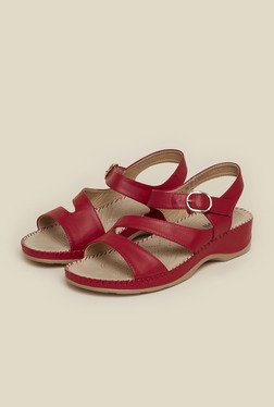 Mochi Maroon Leather Sandals