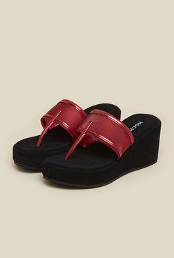 Mochi Red T-Strap Wedge Sandals