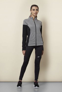 Lotto Grey & Black Solid Sports Jacket