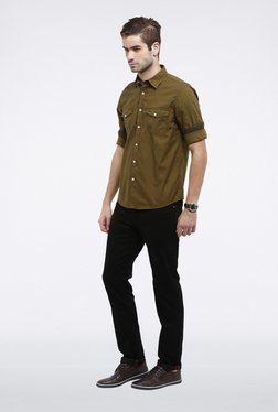 Allen Solly Olive Solid Casual Shirt