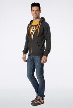 Peter England Grey Printed Hooded Sweatshirt
