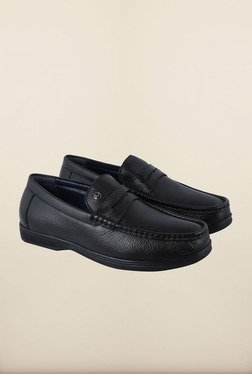 Arrow Black Leather Moccasin Shoes