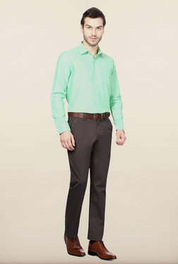 Van Heusen Green Solid Casual Shirt