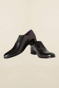 Louis Philippe Black Brogue Shoes - Mp000000000163441