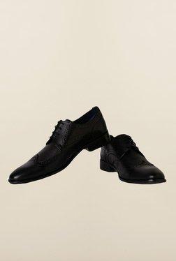 Louis Philippe Black Brogue Shoes - Mp000000000166441