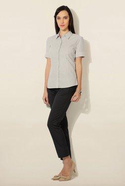Van Heusen White & Grey Striped Shirt