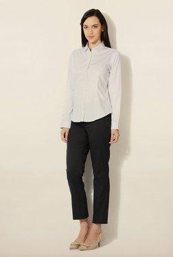 Van Heusen White Striped Cotton Shirt