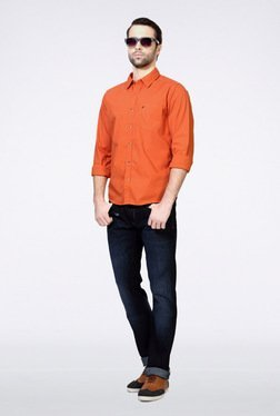 People Orange Solid Casual Shirt