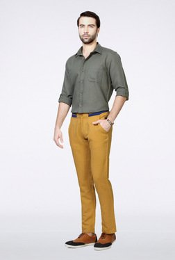 People Khaki Casual Trousers