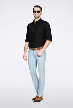 People Black Solid Casual Shirt