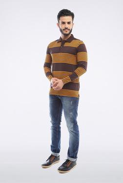 Van Heusen Brown Striped Polo T Shirt