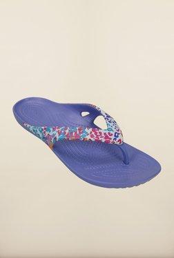 Crocs Kadee II Floral Lapis Blue Flip Flops