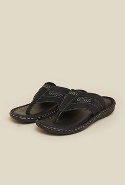 Mochi Black Leather Thong Sandals