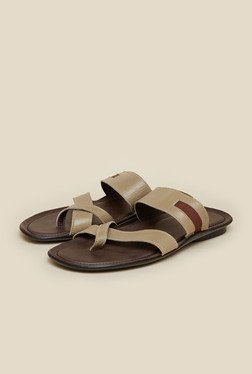 Mochi Beige Cross Strap Leather Sandals