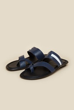 Mochi Blue Cross Strap Leather Sandals