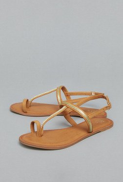 Head Over Heels Tan Buckle Flat Sandals