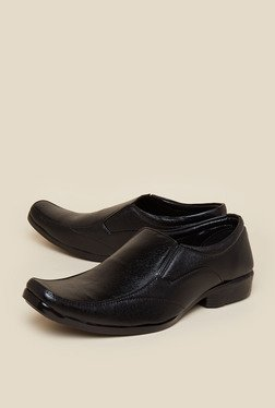 Zudio Black Leather Slip-Ons Shoes