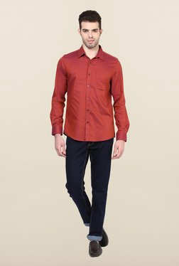 Turtle Red Textured Formal Shirt