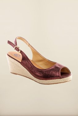 Pavers England Maroon Wedge Sandals