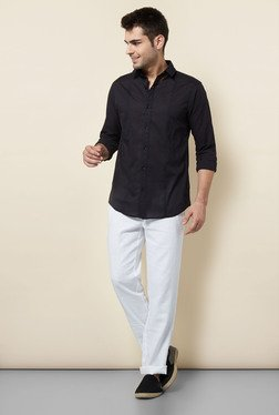 Cottonworld Black Solid Casual Shirt - Mp000000000190498