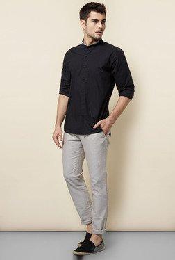 Cottonworld Black Solid Casual Shirt