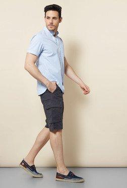 Cottonworld Light Blue Striped Casual Shirt