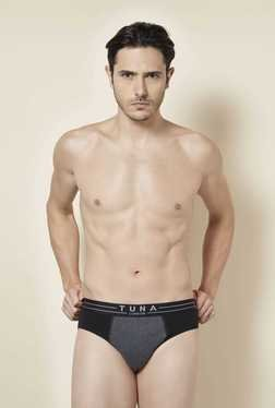 Tuna London Black & Grey Solid Brief