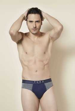 Tuna London Navy & Grey Melange Solid Brief