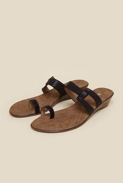 Inc.5 Black Wedge Heel Sandals
