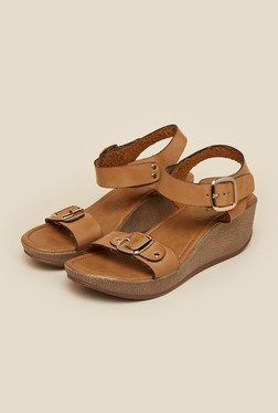 Inc.5 Tan Buckled Wedge Heel Sandals