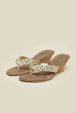 Inc.5 Gold Beaded Floral Sandals