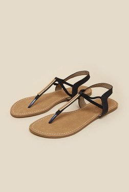 Inc.5 Black Back Strap Flat Sandals