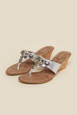 Inc.5 Silver Diamond Embellished Wedge Heel Sandals