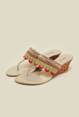 Inc.5 Gold Embroidered Wedge Heel Sandals