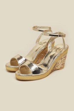 Inc.5 Gold Shimmering Wedge Heel Sandals